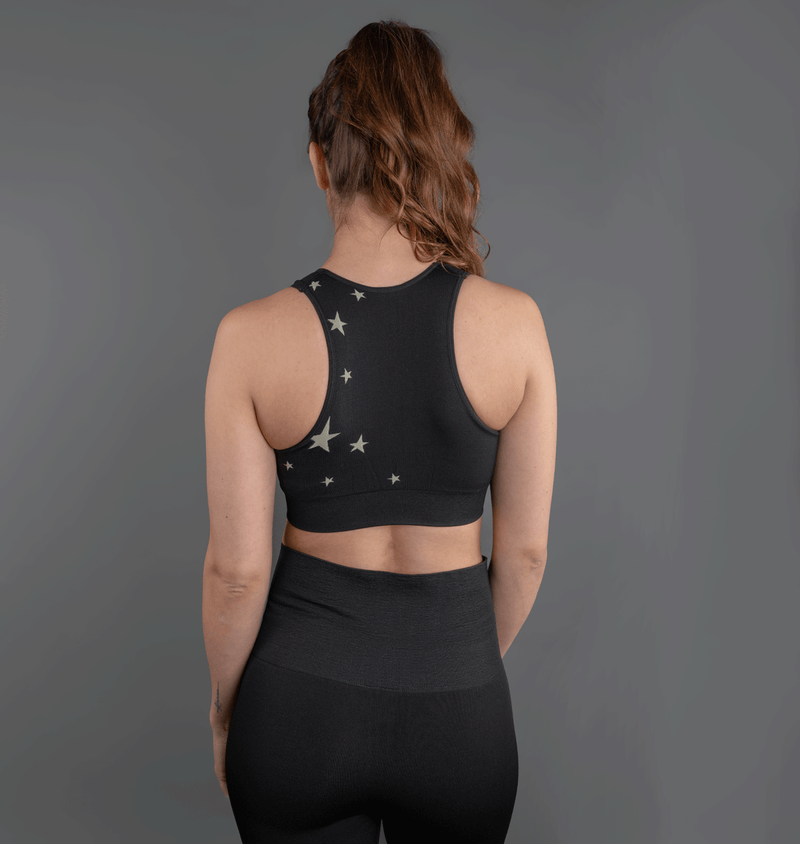 TEMA Athletics Seamless Black Star Bra