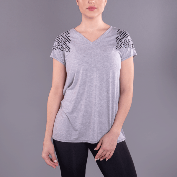TEMA Athletics Black Foil Gladiator Easy V-Neck Gray Tee