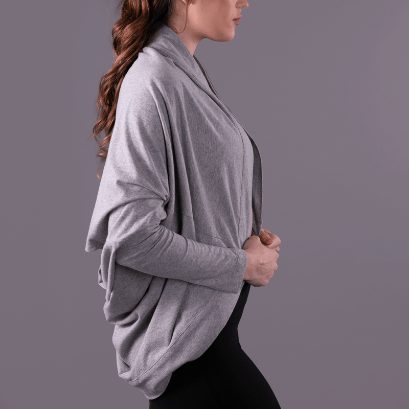 TEMA Athletics Graystone Convertible Off Shoulder Layering Tunic & Cardigan