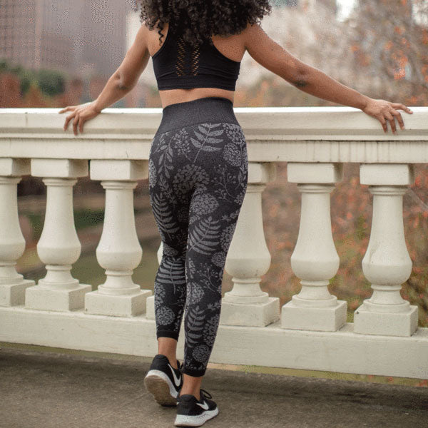 Seamless High Waist Hydrangea Print Leggings