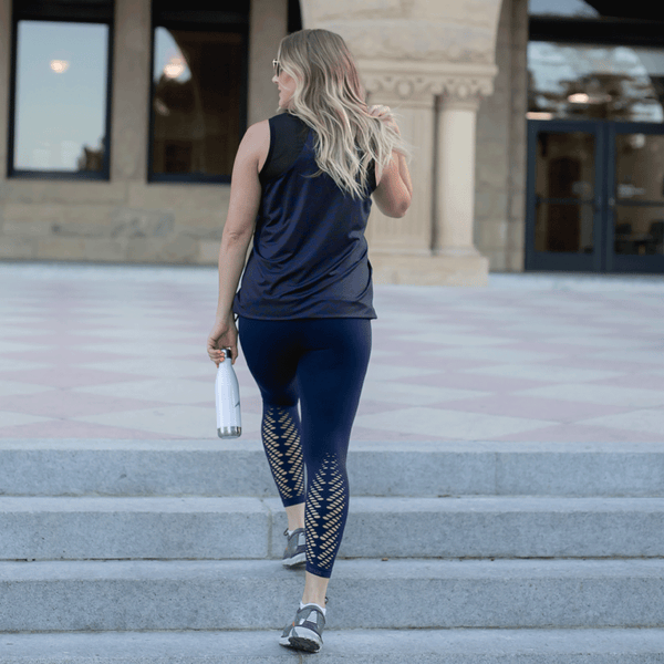 High Waist Seamless Navy Leaf Leggings