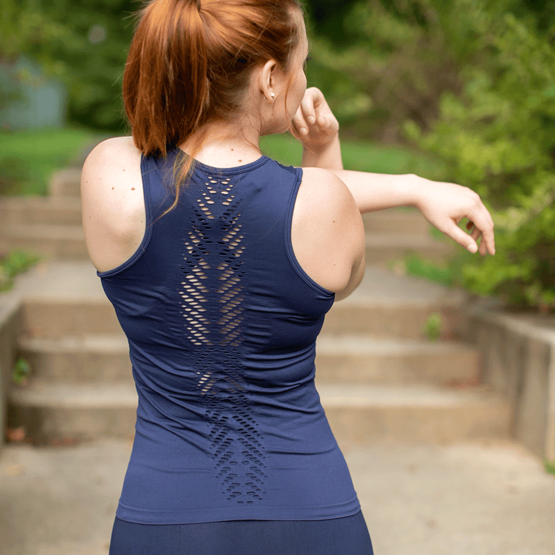 TEMA Athletics Seamless Navy Leaf Tank