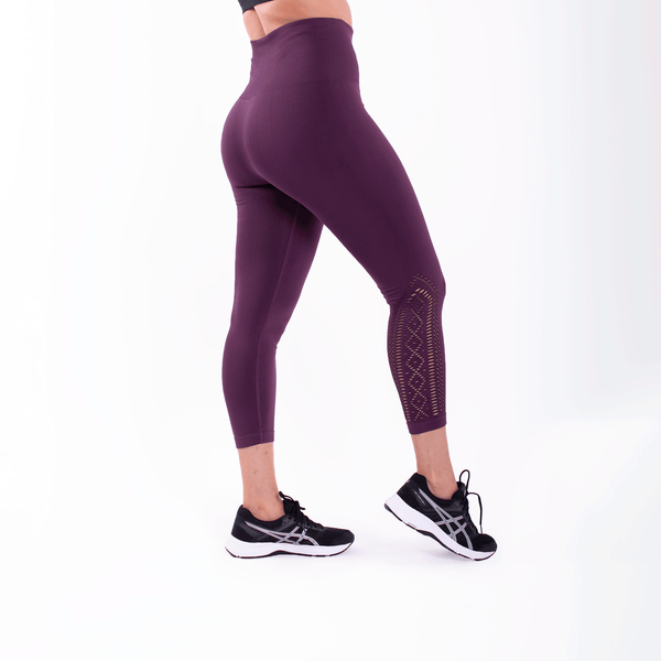 High Waist Compression Seamless Plum Lace Detail Leggings