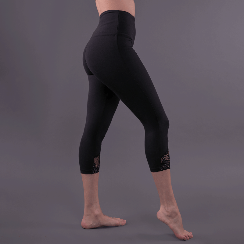TEMA Athletics High Waist Tummy Tuck Black Scallop Lace Yoga Leggings