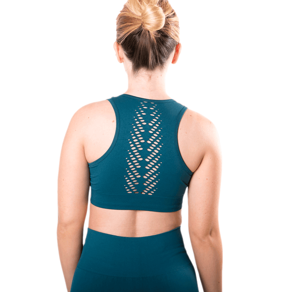 TEMA Athletics Seamless Teal Leaf Bra