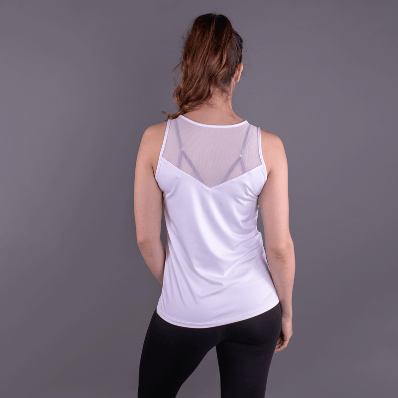 TEMA Athletics White Chevron Racerback Tank