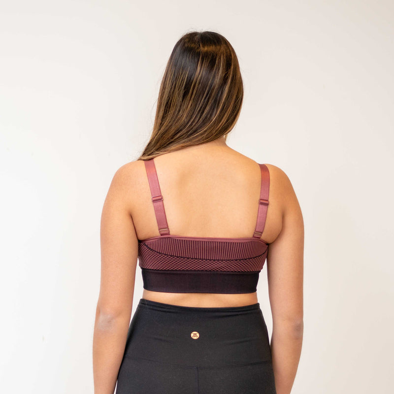 Burgundy Geo Colorblock Seamless Bra