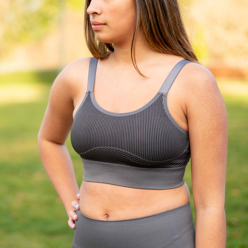 Charcoal Geo Colorblock Seamless Bra