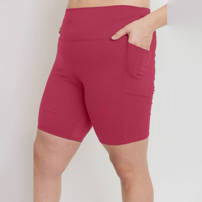Plus Size Bermuda Berry High Waist Shorts