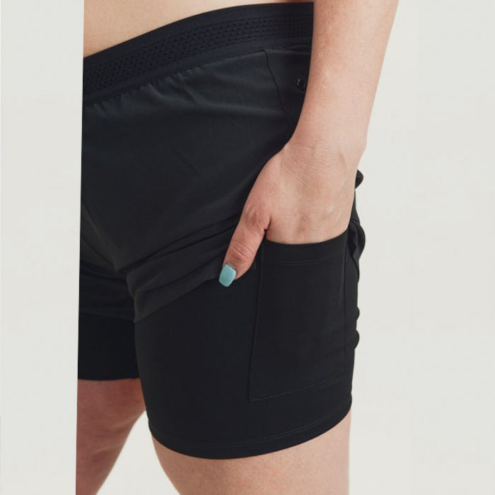 Plus Size Black Lined Active Shorts