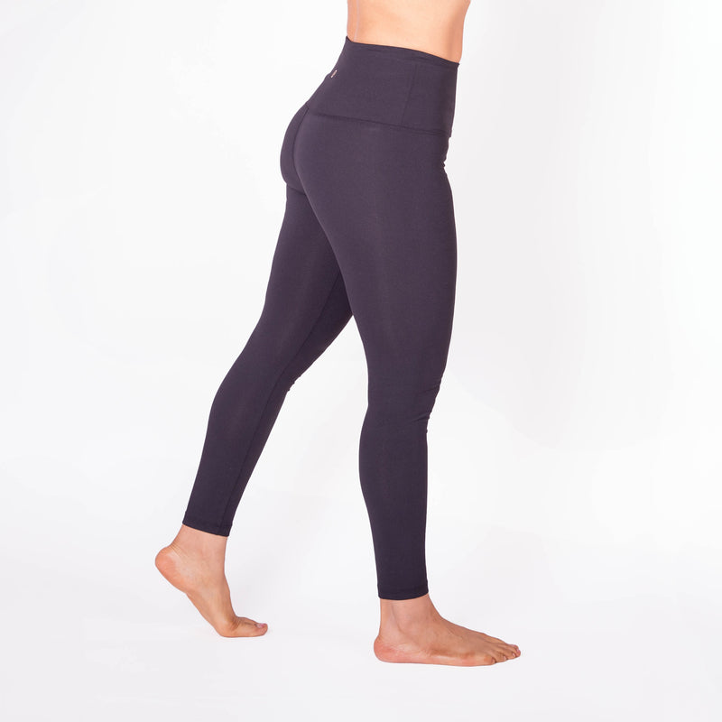 Solid Black High Waist Full Length Compression Leggings