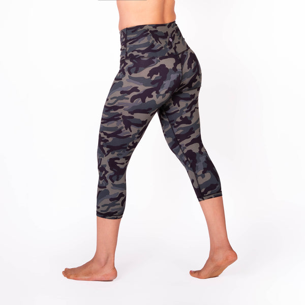 High Waist Green Camo Print Compression Capri Leggings