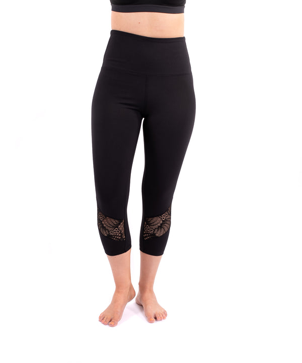 New High Waist Tummy Tuck Black Lace Inset Yoga Leggings