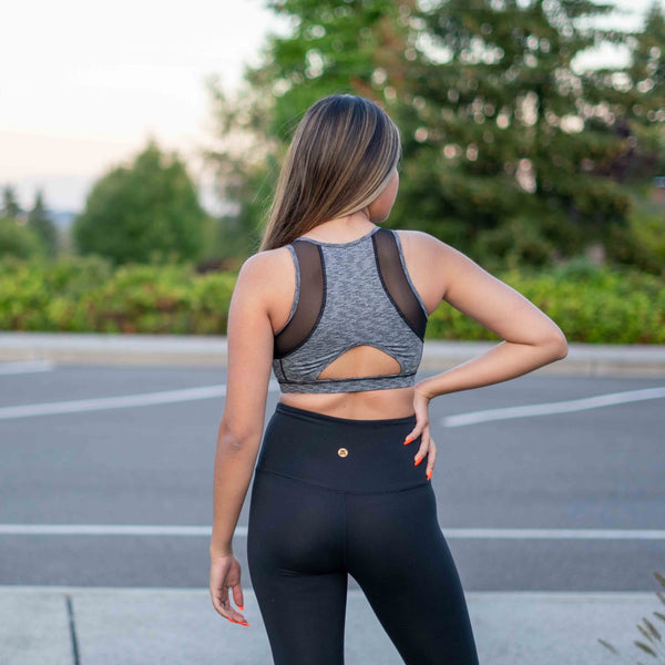 TEMA Athletics Colorblock Gray Black Racerback Sports Bra