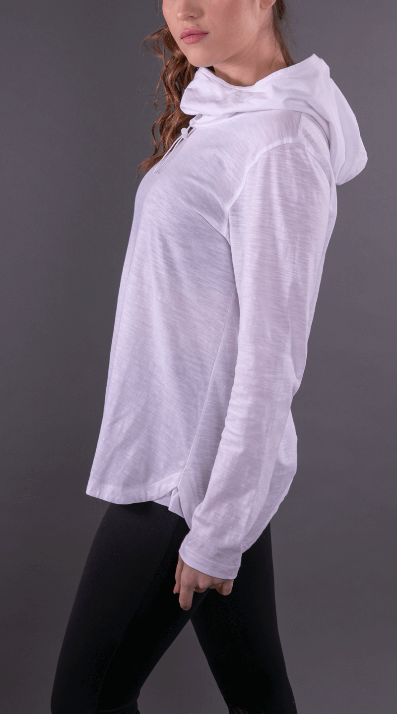 White Convertible Full Sleeves Cowl Neck Hoodie