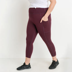 TEMA Athletics Plus Size Burgundy Bow Accent Side Pockets Leggings