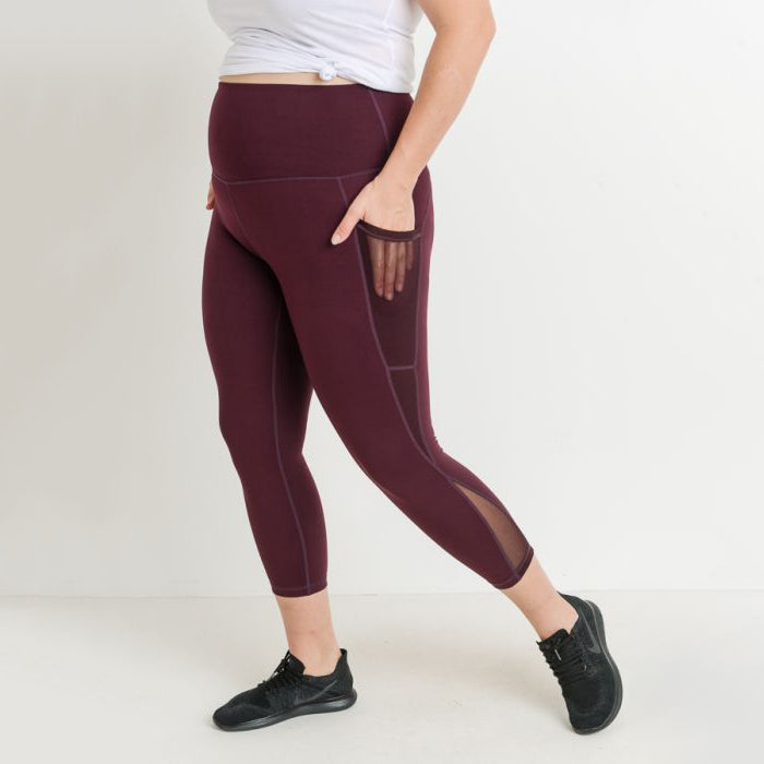 Plus Size Burgundy High Waist Splice Mesh Pocket Leggings
