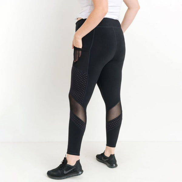 Plus Black Dot Mesh Side Pocket Leggings