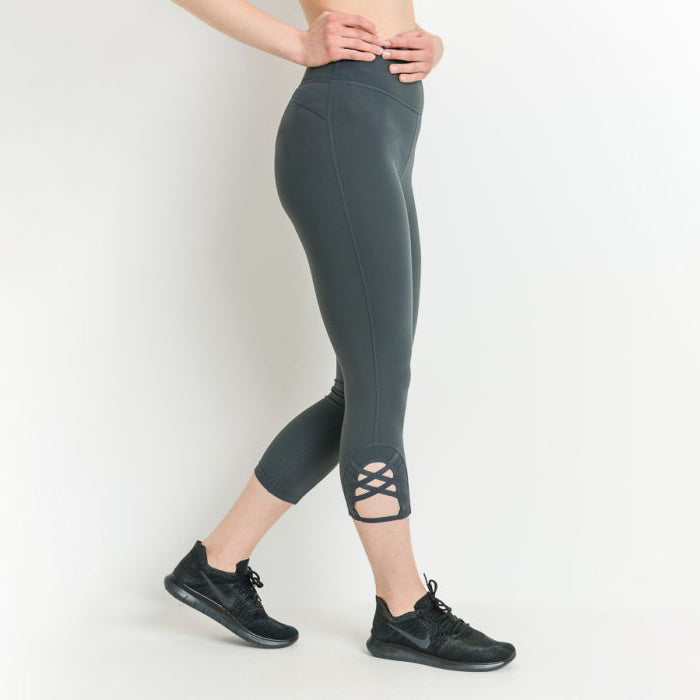 Thyme Diamond Criss Cross High Waist Tummy Support Leggings
