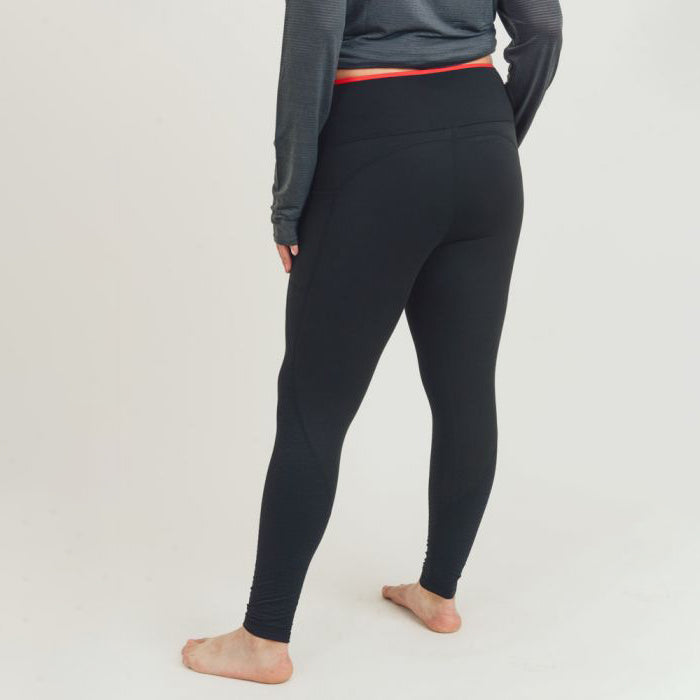 Plus Size French Tip High Performance Side Pocket Leggings