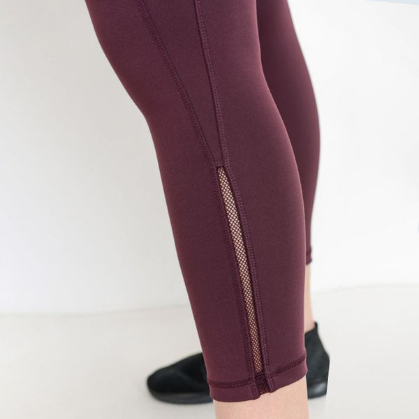 TEMA Athletics Plus Size Cabernet High Waist Mesh Detail Pocket Leggings