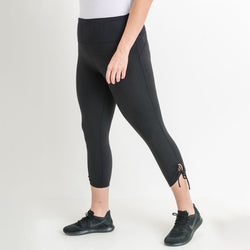 Plus Size Black High Waist Tie Accent Leggings