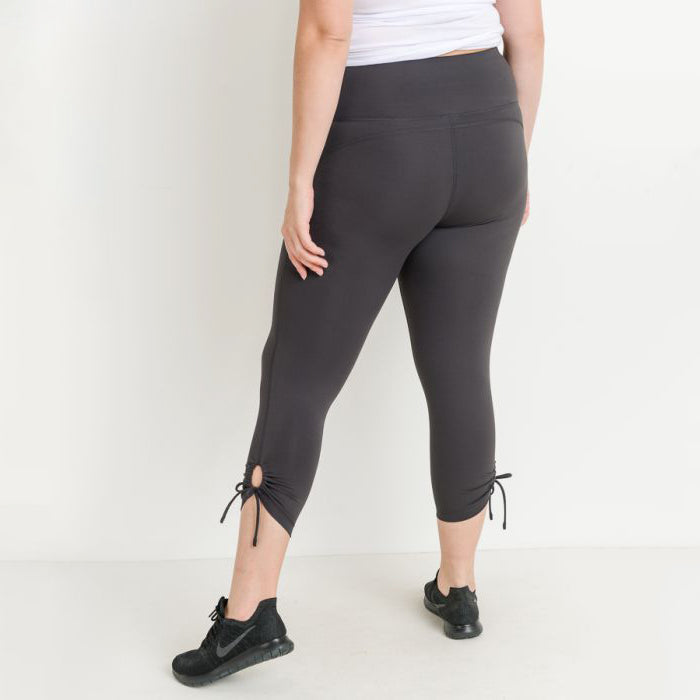 Plus Size Gray High Waist Tie Accent Leggings