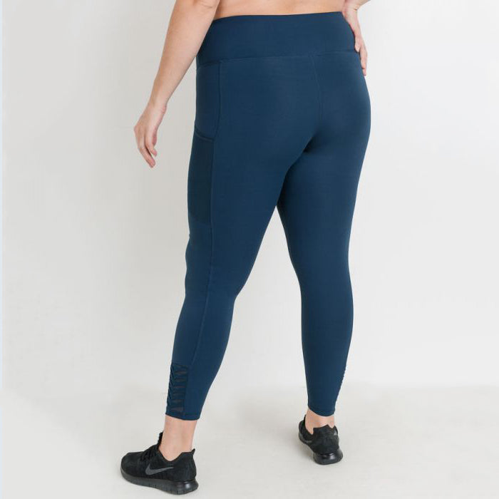 Plus Teal Origami Mesh Side Pocket Leggings