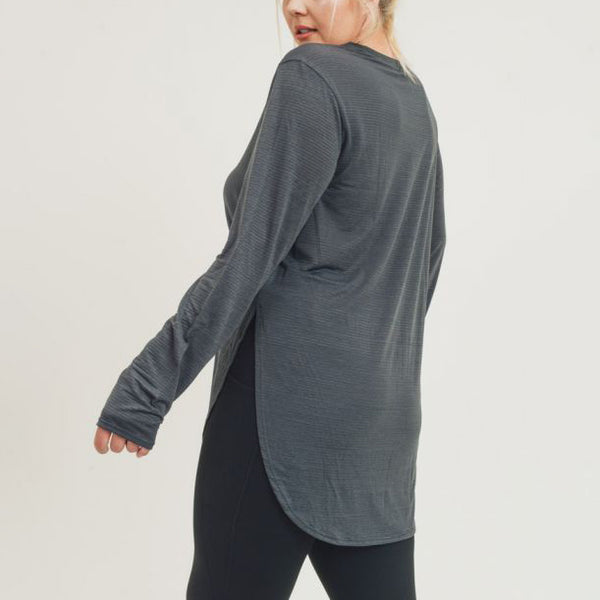 Plus Ribbed Mesh Long Sleeve Flow Top - Grey