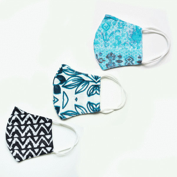 Final Sale Pack of 3 Printed Face Masks with Pocket for Removable Filter