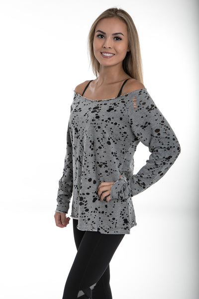 Gray Burnout Distressed French Terry Pullover - TEMA Athletics