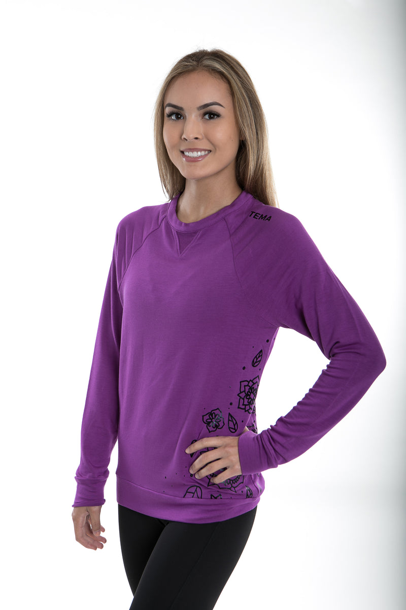 TEMA Athletics Purple Floral Modal Terry Printed Pullover