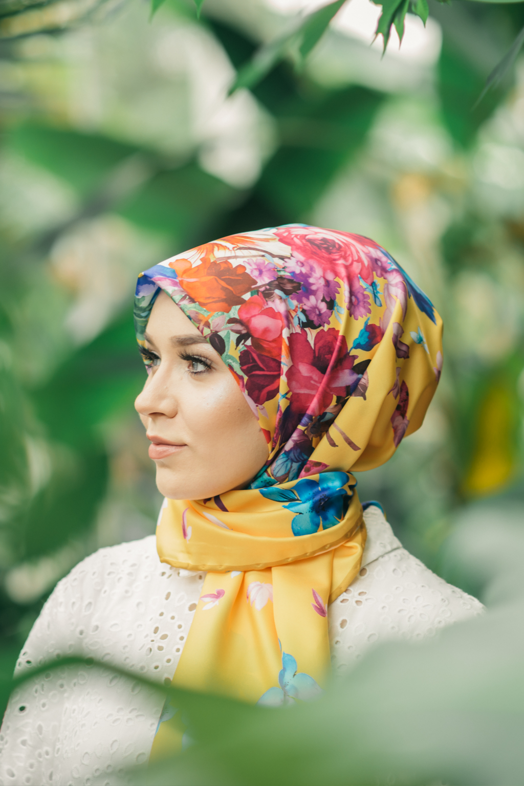 LEMON FLORALS SQUARE HIJAB