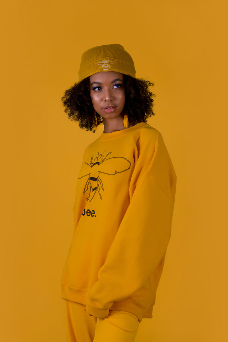 MUSTARD YELLOW BEE SWEATER