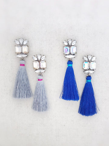 Sparkle Tassel Earrings {Gray}