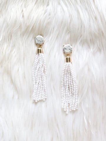 Beaded Marble Earrings {White}