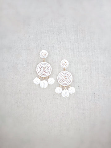 Kamuela Beaded Earrings {White}