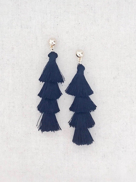 Tiered Tassel Earrings {Black}