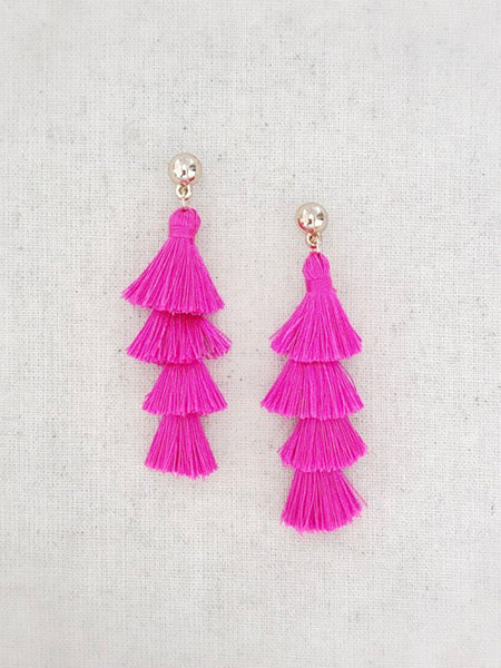 Tiered Tassel Earrings {Hot Pink}