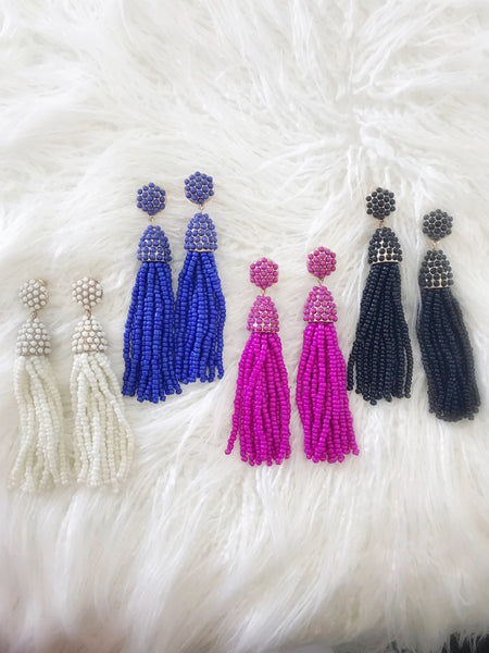 Beaded Tassel Earrings {BLUE}