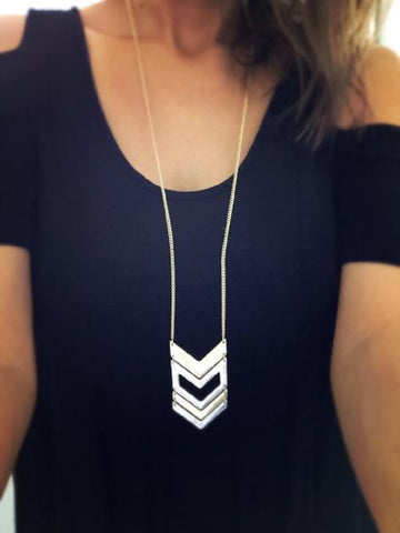 Chevron Long Necklace {Gold + Silver}