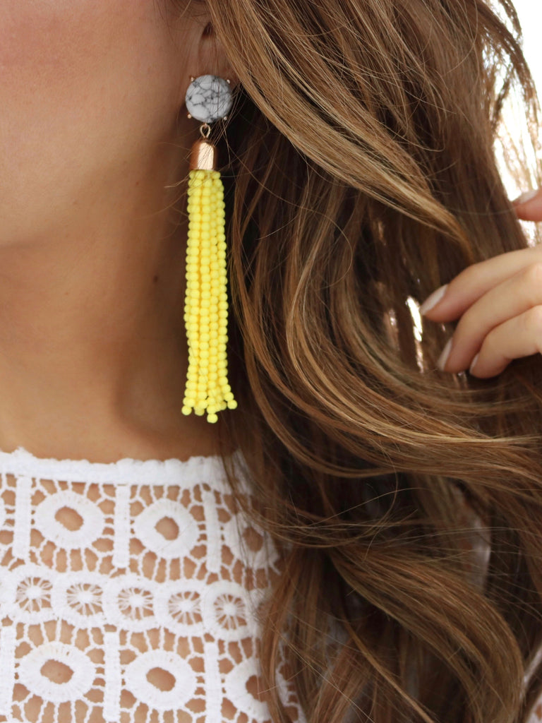 Beaded Marble Tassel {Yellow}