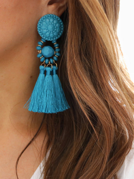 Festive Tassel Earrings - Turquoise