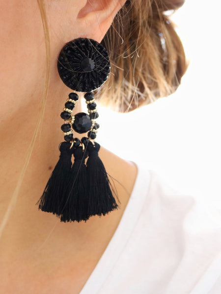 Festive Tassel Earrings- Black