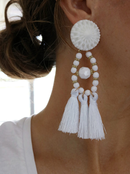 Festive Tassel Earrings - White