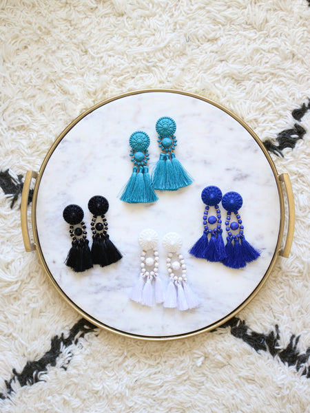 Festive Tassel Earrings - Blue