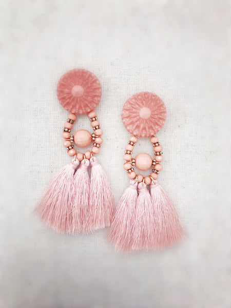 Napili Tassel Earrings - Blush Pink