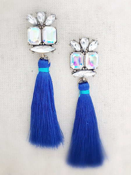 Sparkle Tassel Earrings {Blue}