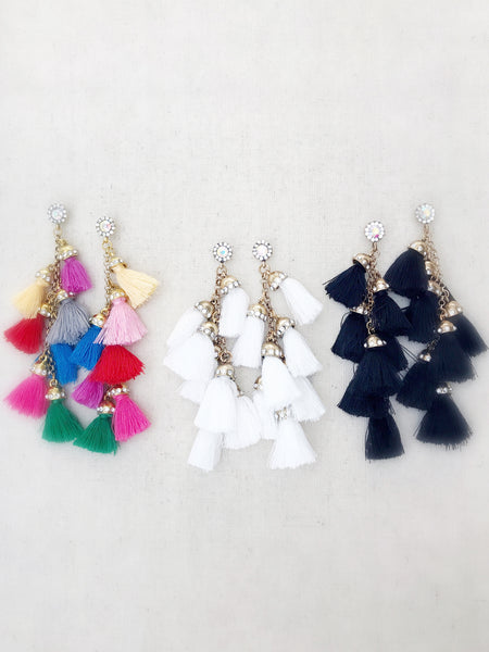 Multi-Tassel Earrings {Multicolor}