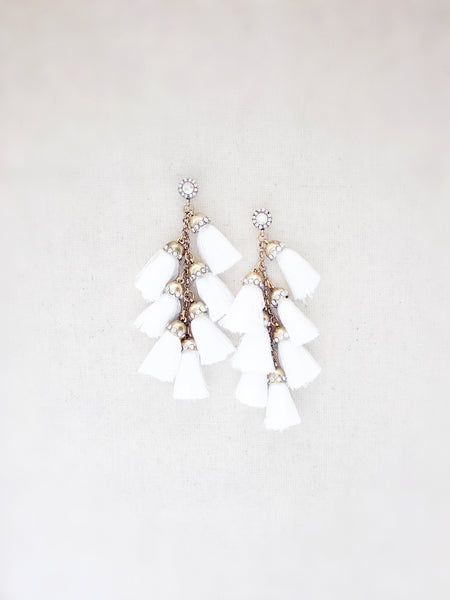 Waimea Tassel Earrings {White}